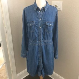 Boden Denim Button Snap Shirt Dress Western Blue